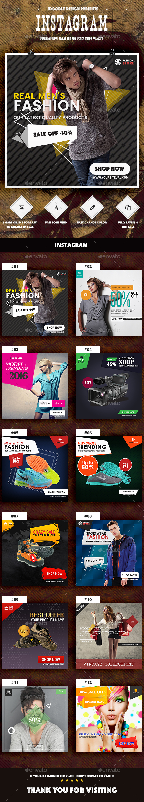 Instagram Product Banners Ads PSD - Instagram ad template