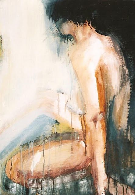 To shed her past .... side-lit figure painting by Melanie McDonald - from my blog Gauguin 's Loft