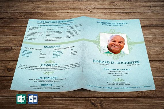 Blue Texture Funeral Program Publisher Word Template ( Includes 4