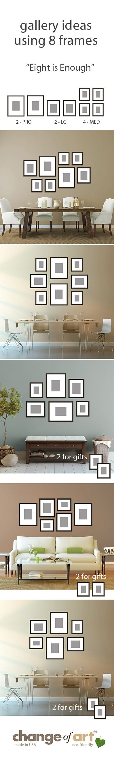 """Just a few #gallery wall ideas for Change of Art's """"Eight is Enough"""" gallery grouping of 8 #GalleryFrames. Every frame comes with its own templates, so hanging's a piece of cake. Nice and flexible - to suit your #home decor."""