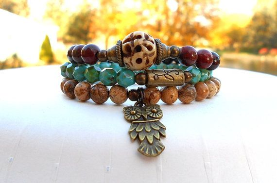 Hey, I found this really awesome Etsy listing at https://www.etsy.com/listing/168120466/boho-bracelet-owl-charm-bracelet