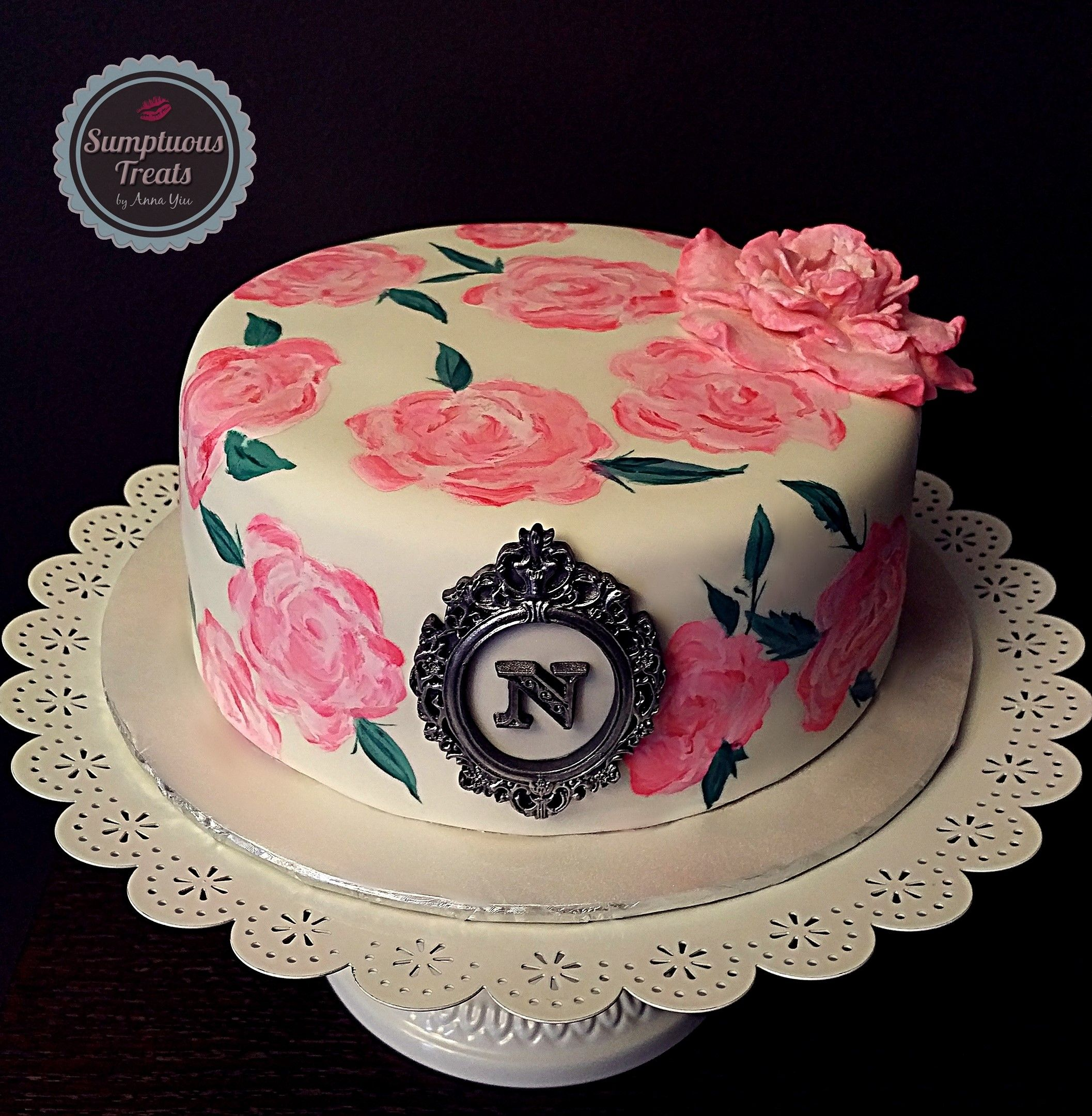 Hand Painted Pink Rose Cake CustomMadeToOrder Cakes Cupcakes