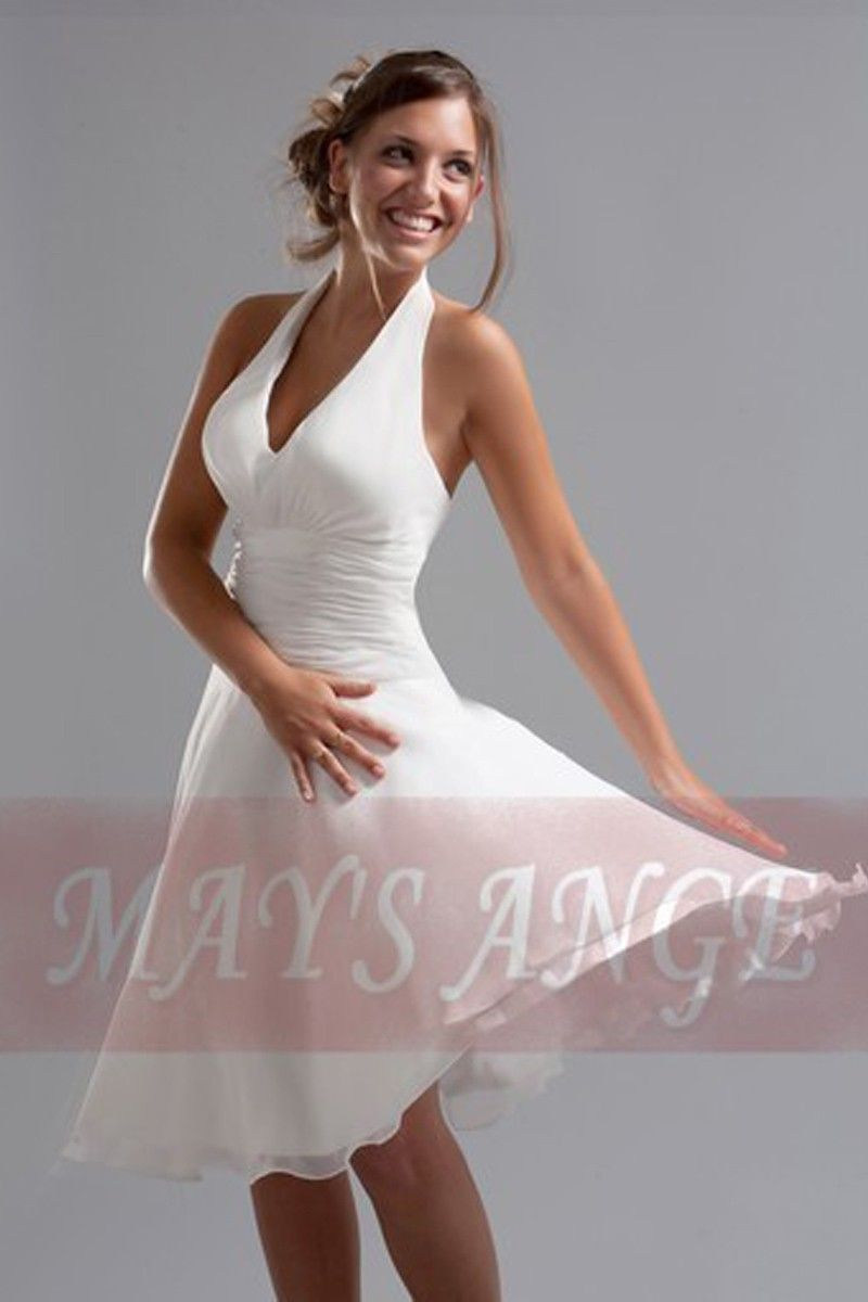 1de06b24535 Robe blanche Marilyn de cocktail