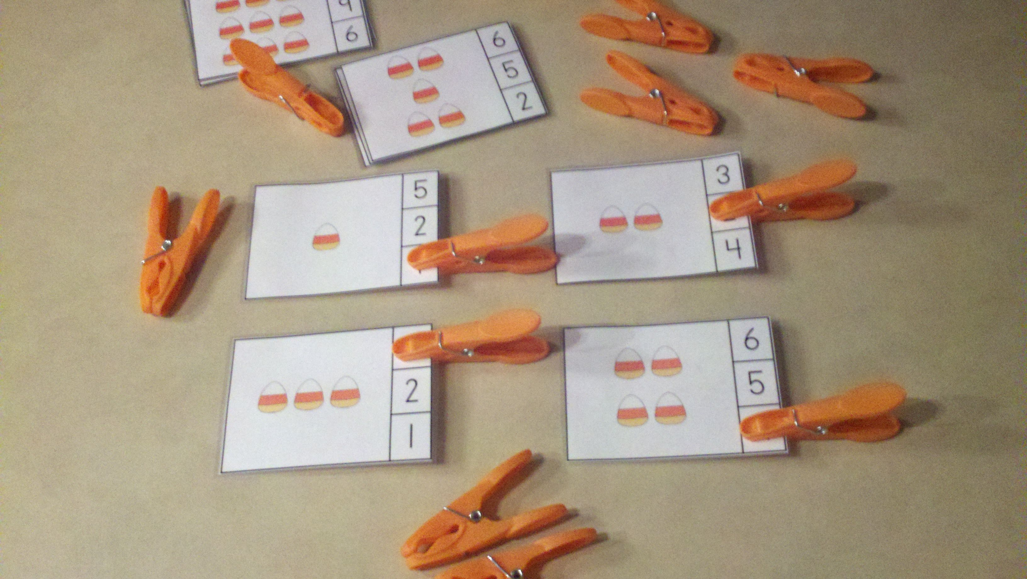 Candy Corn Count And Clip Cards Sets To 12