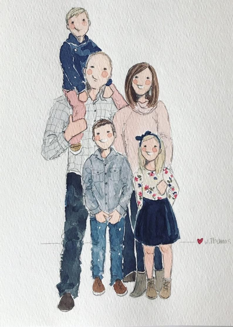 Custom Family Of 5 Watercolor Portrait In 2020 Watercolor