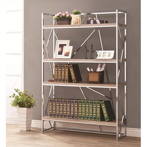 Coaster Bookcases Flashy Chrome Bookshelf With Reclaimed Wood