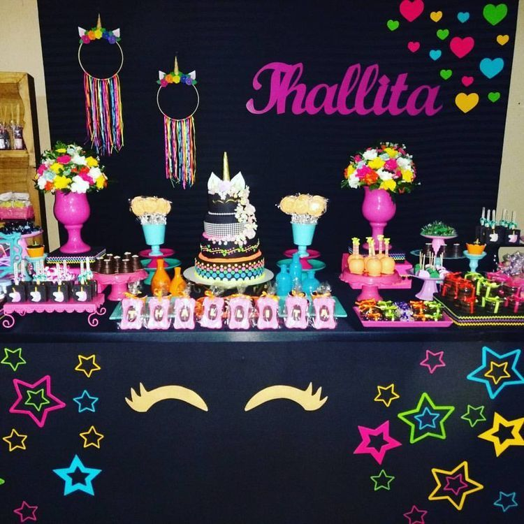 Festa Unicornio Neon Sweet 16 Pinterest Neon Party Birthday