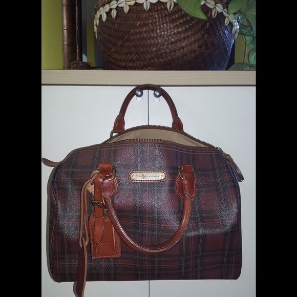 6dc170384e3b Ralph Lauren Polo Vintage Speedy Handbag - RARE Lovely Vintage plaid  Leather and Canvas Speedy