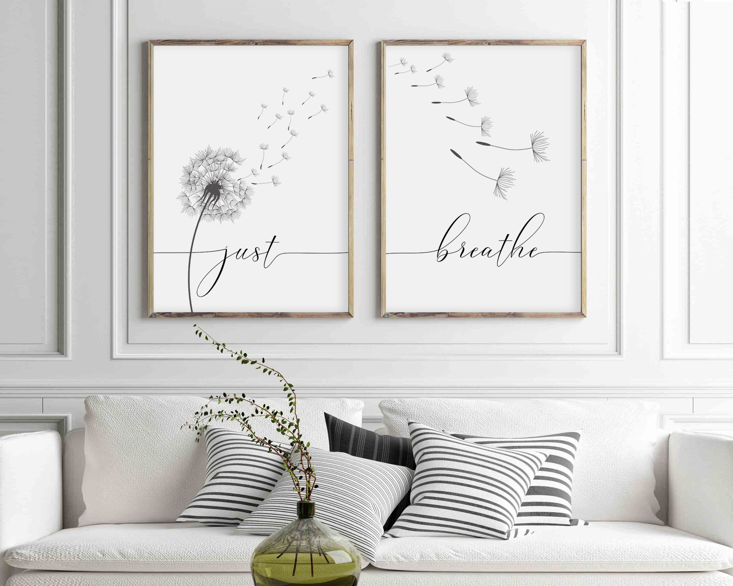 Just Breathe Dandelion Prints, Set Of 2 Prints, Inhale Exhale, Relax Quote, Meditation Prints, Buddha Art, Hand lettering, Yoga Wall Decor