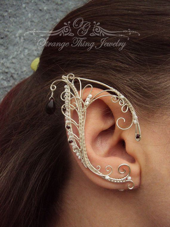 Pair of elf ear cuffs White frost by StrangeThingJewelry on Etsy Drátované  Náušnice a9b5b398b0