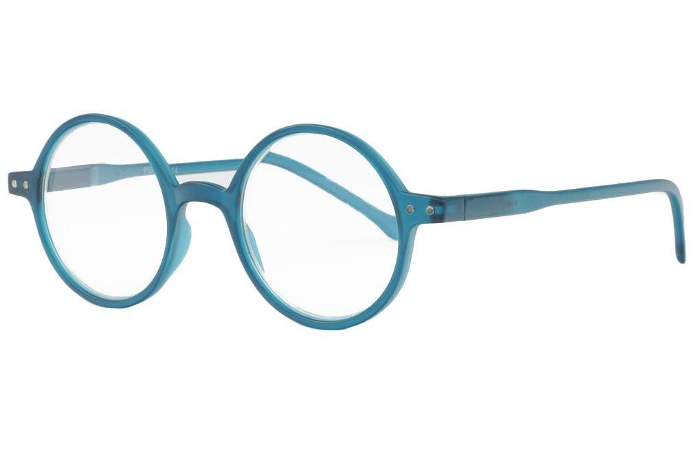 Grandes lunettes loupe bleu translucide à la monture
