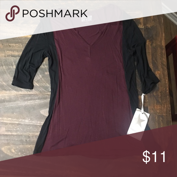Maroon and black 3/4 sleeve shirt Maroon and black 3/4 sleeve shirt. Converse one star brand (from Target) NWT size small Converse Tops Tees - Long Sleeve