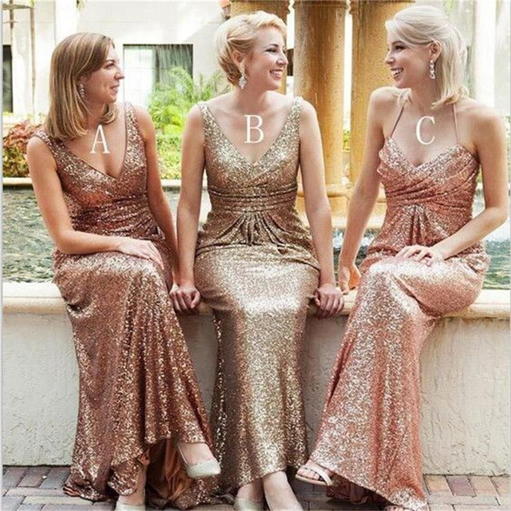 New long mermaid sequin vneck sparkly shining pretty bridesmaid