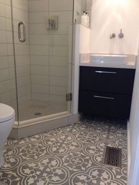 Guest Bathroom In A 5x5 Space The Cement Tiles Are The Focal Element In The Design Cement Tile Small Bathroom Layout Bathroom Layout Basement Bathroom Design