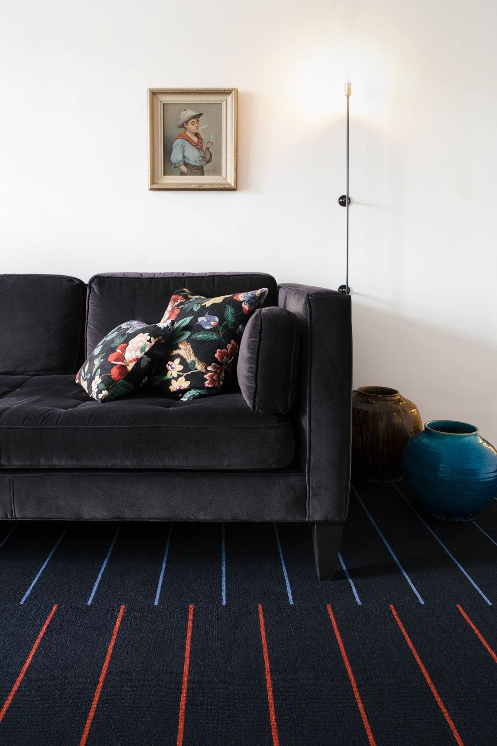 Barber Charcoal Red Blue By Nordic Knots A Scandinavian Rug Company Swedish Design Modern Interior Decor Modern Interior Decor Scandinavian Rug Home Rugs