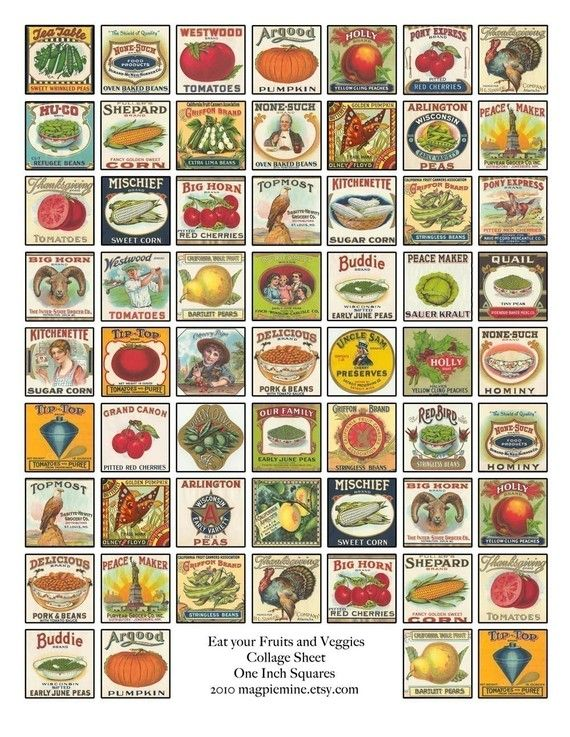 Collage Sheet - Eat Your Fruits and Veggies - Vintage ...