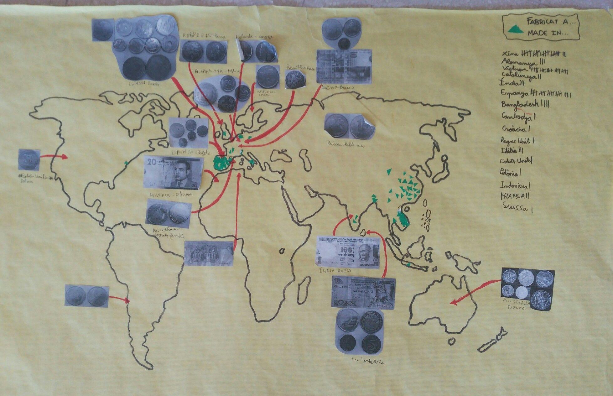 """Mapa món """"fabricat a...""""/""""made in..."""" i monedes del món."""
