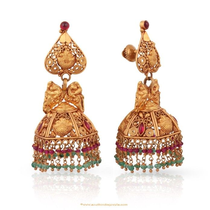 gold antique jhumka from malabar gold diamonds earrings