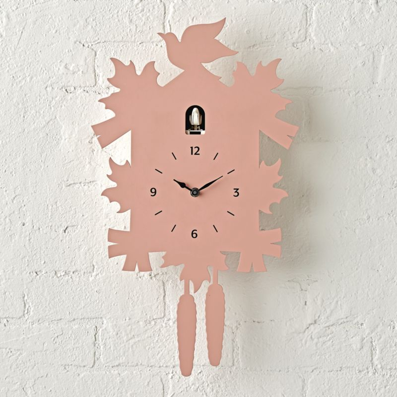 Shop Modern Coral Cuckoo Clock Our Modern Cuckoo Clock Offers A New Take On A Timeless Style It Features Modern Cuckoo Clocks Cuckoo Clock Crate And Barrel