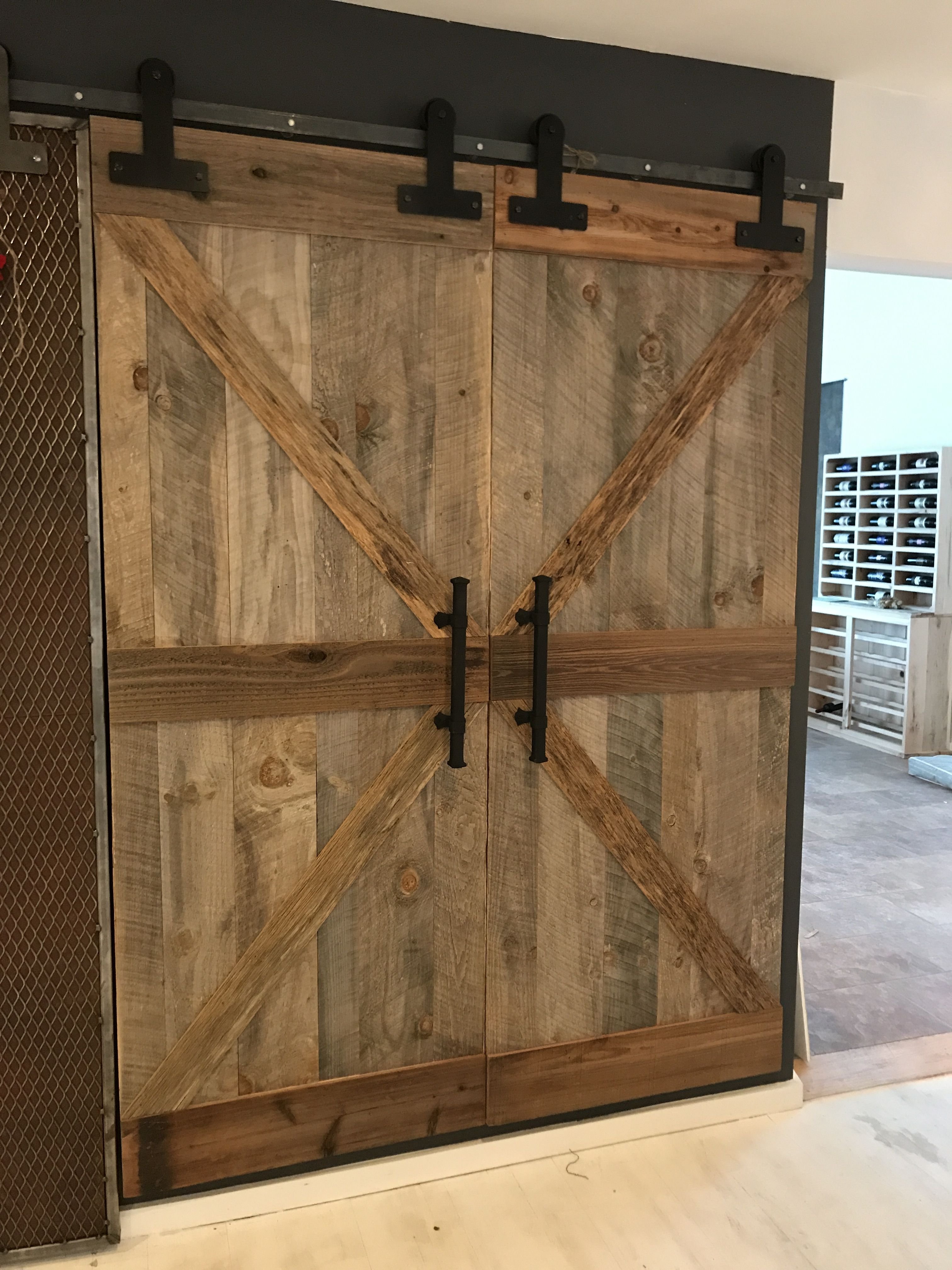 Our Reclaimed Wood Barn Door Harbor Gray With Rustic Accent Boards