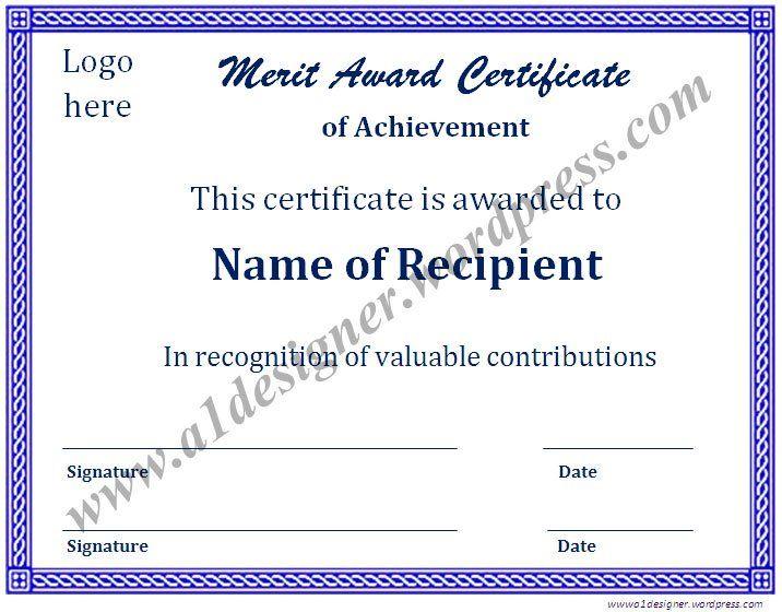 Merit Award Certificate Certificate and Graduate degree - merit certificate sample