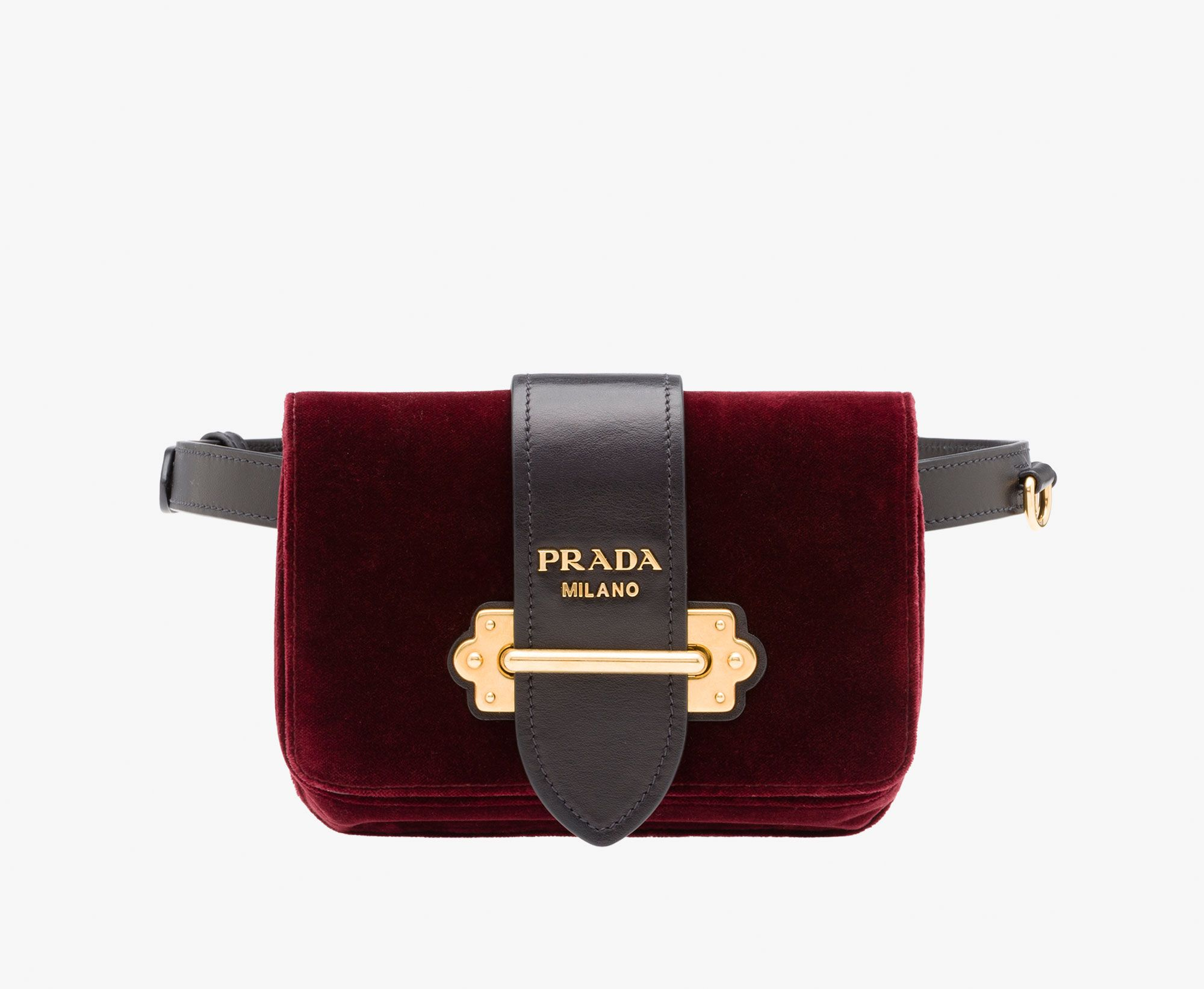 83f93eaa9275 Prada Cahier velvet and calf leather fanny pack Detachable metal chain  shoulder strap Removable 2 cm wide leather belt with metal buckle  Bronze-tone metal ...