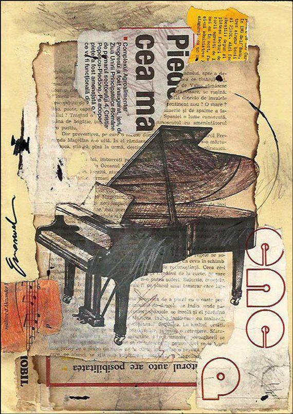 Druck Kunst Poster Collage Zeichnung abstrakte Mixed Media Kunst Malerei Illustration Geschenk Klavier Musik signiert Emanuel M. Ologeanu