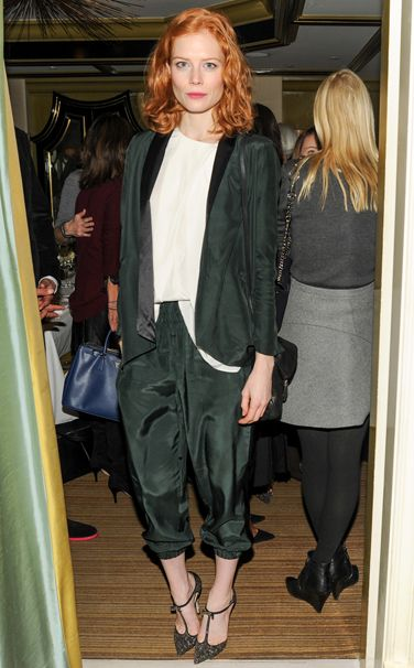 Jessica Joffe in Hatch jacket and pants, Jimmy Choo shoes @ Jimmy Choo and Vogue lunch, NYC; Nov. 14, 2013.        Pinning made easy! http://www.pinny.co Pin any photo in any website with a click.