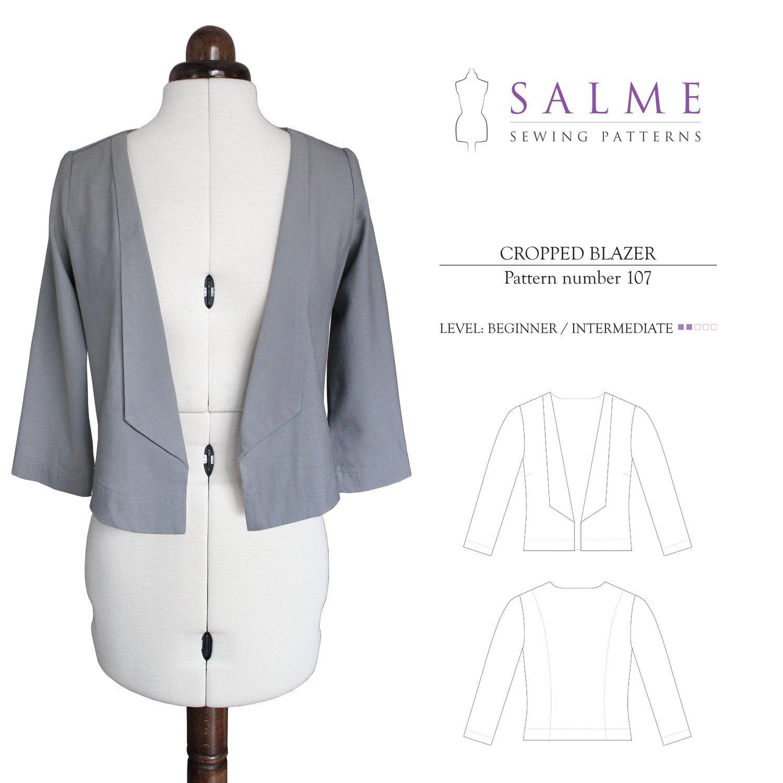 Salme Sewing Patterns 107 Cropped Blazer Downloadable Pattern   Sew ...
