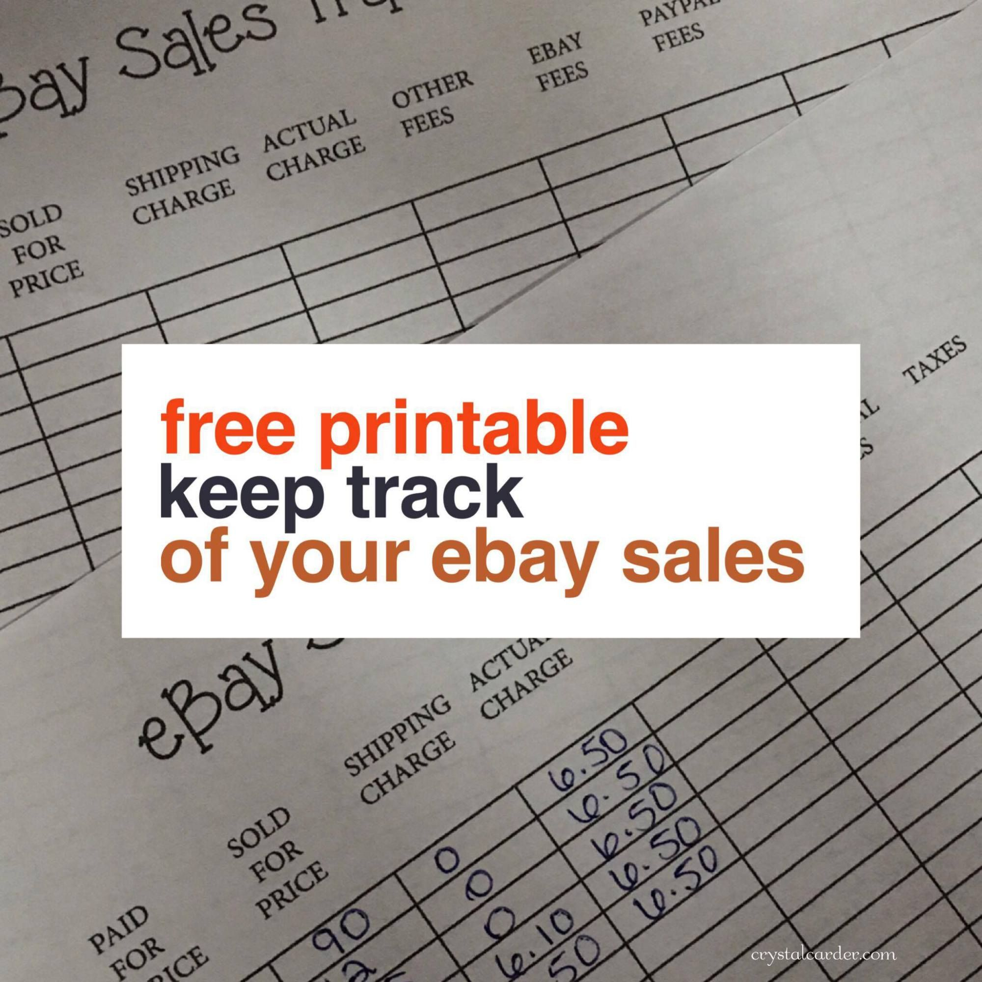 Free Ebay Sales Tracker Printable