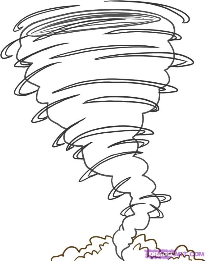 how to draw a tornado step 4 - Tornado Coloring Pages Printable
