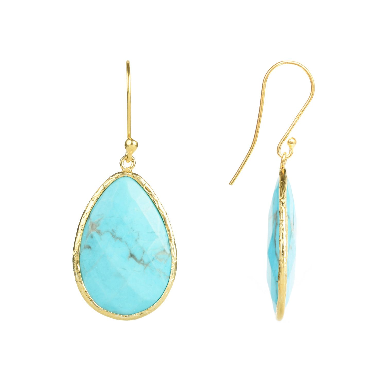 Latelita London Gold Single Drop Earring in Turquoise KJYpeFt