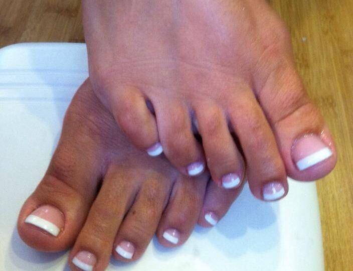 Sparkle Pink And White Acrylic Toes French Nails Fun Nails Acrylic Toes