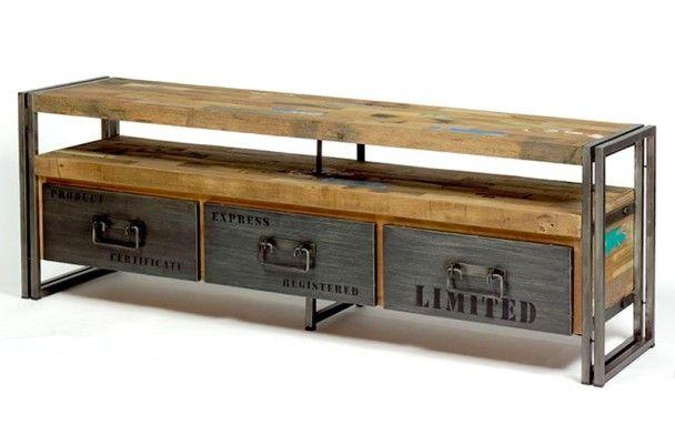 ce meuble tv esprit industriel factory est r alis en m tal et bois de bateau recycl grands. Black Bedroom Furniture Sets. Home Design Ideas