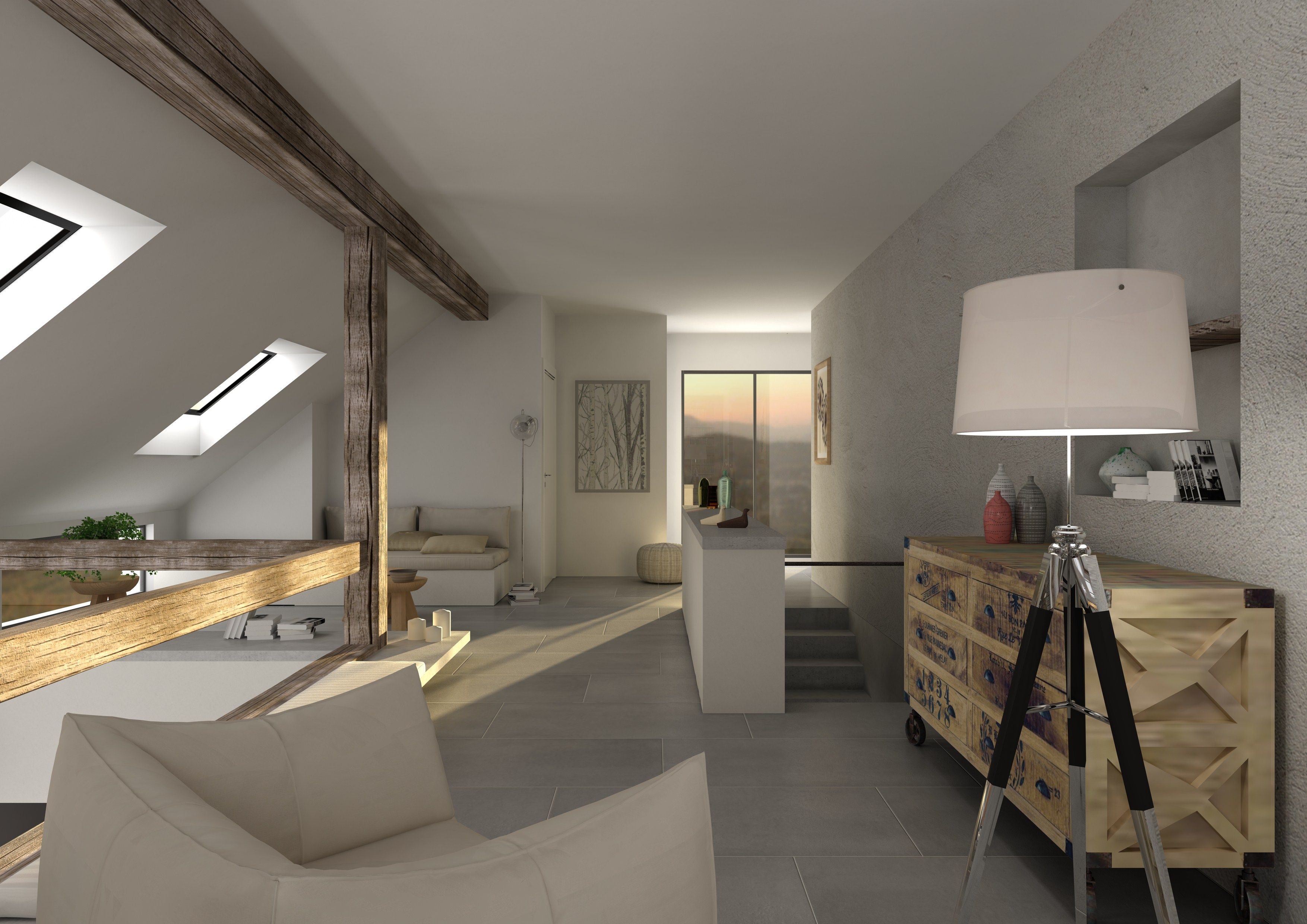 Scandinavian loft, virtual image, rendered with DomuS3D and mental ray