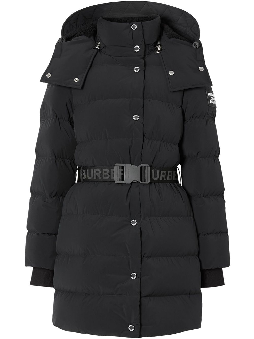 Burberry logo belted puffer jacket Black | Burberry, Down
