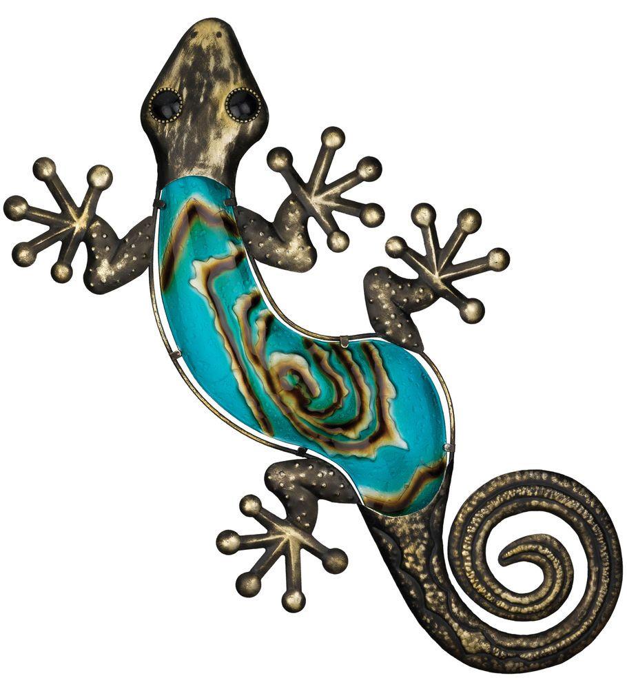 Bronze lizard gecko hanging wall art decor blue glass metal
