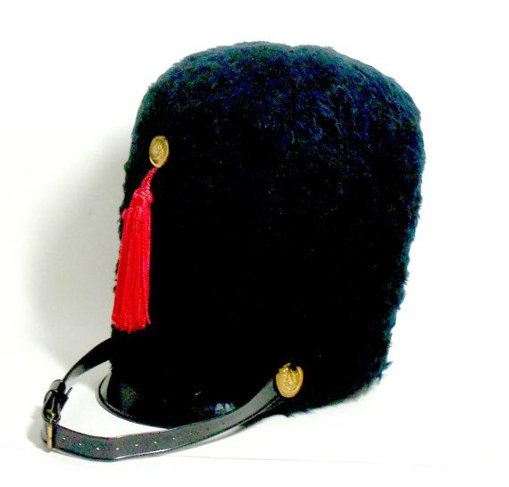 Marching Band Drum Major Hat Black Faux Fur Red By TheVintagePorch