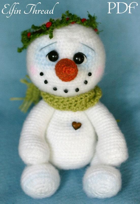 Elfin Thread- Chubby snowman Amigurumi PDF Pattern (Crochet Snowman ...
