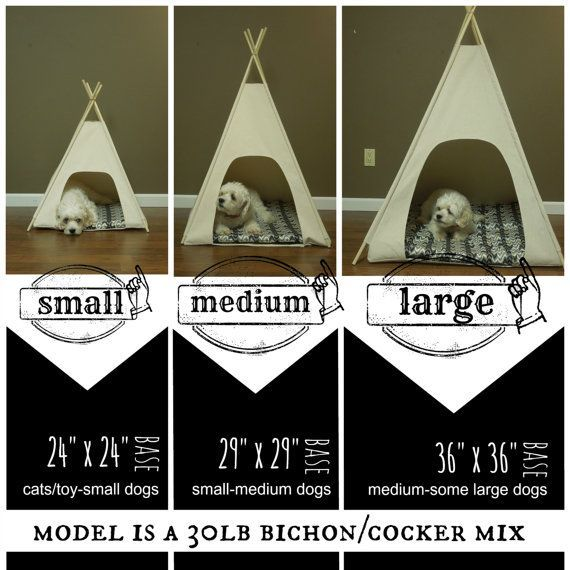 "24"" Small Dog/Cat Teepee Pet Tent 24"" base Natural, Grey"