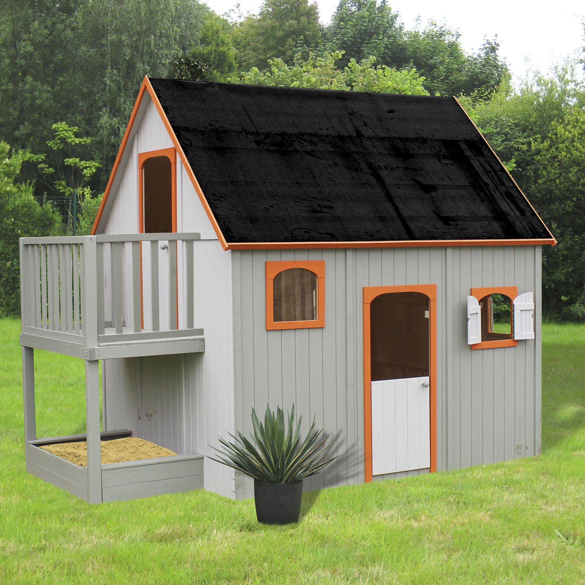Maisonnette en bois avec mezzanine balcon et bac sable for Jouet exterieur 3 ans