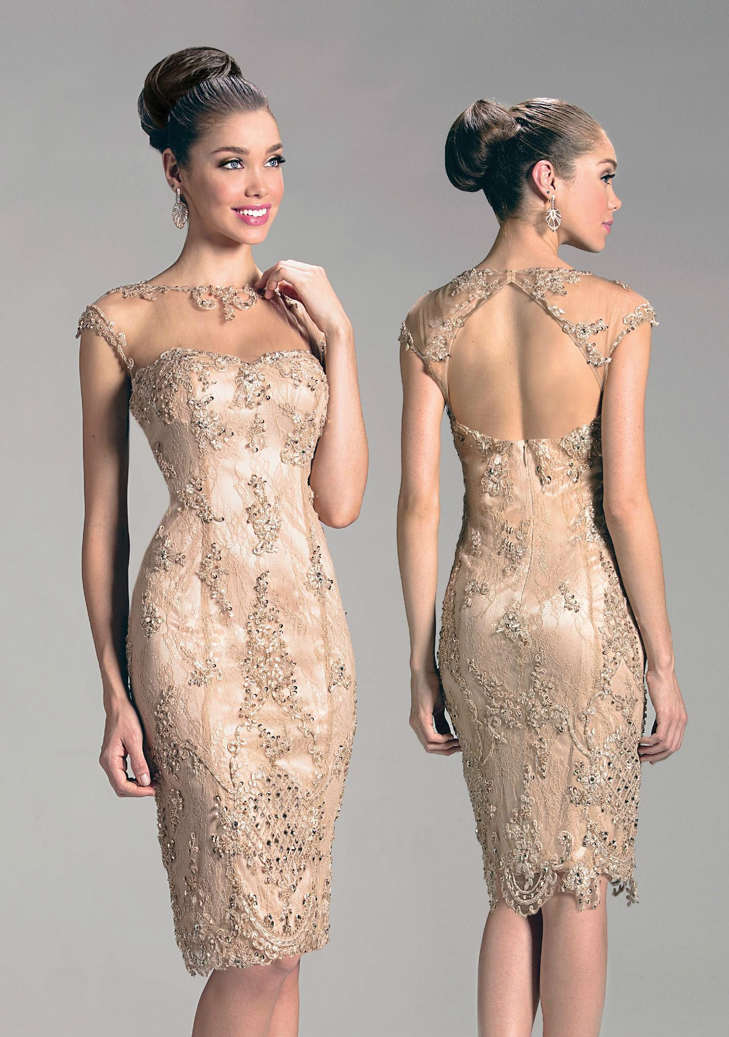 Gorgeous Knee Length Cocktail Dress In Champagne Sheer Collar With Delicate Embroidery And Cocktail Dress Patterns Knee Length Cocktail Dress Elegant Dresses [ 2025 x 1425 Pixel ]
