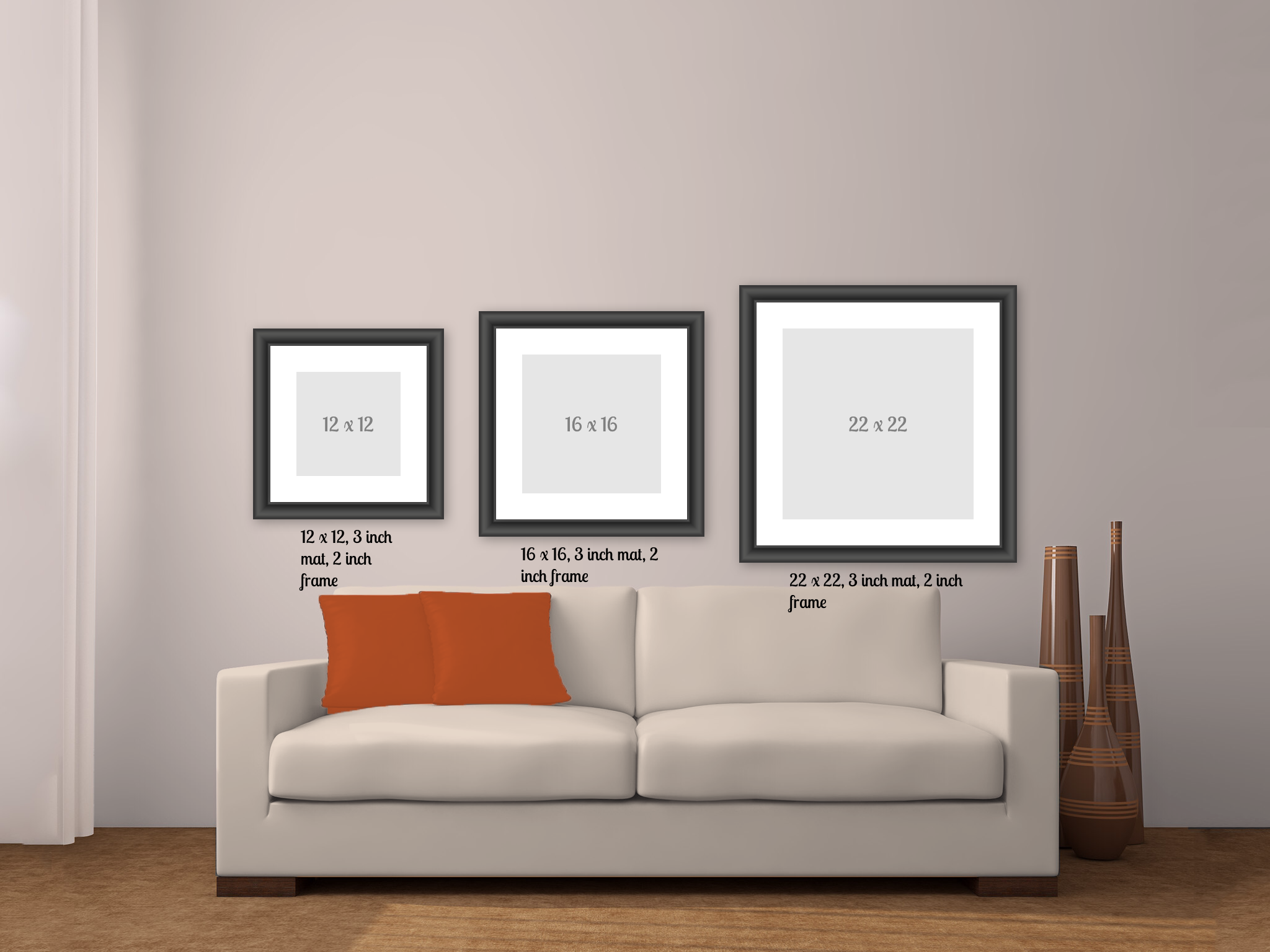Comparaison De Trois Grandeurs De Cadres Carres Dans Le Salon 22 X 22 26 X 26 32 X 32 Home Decor Decals Home Decor Decor