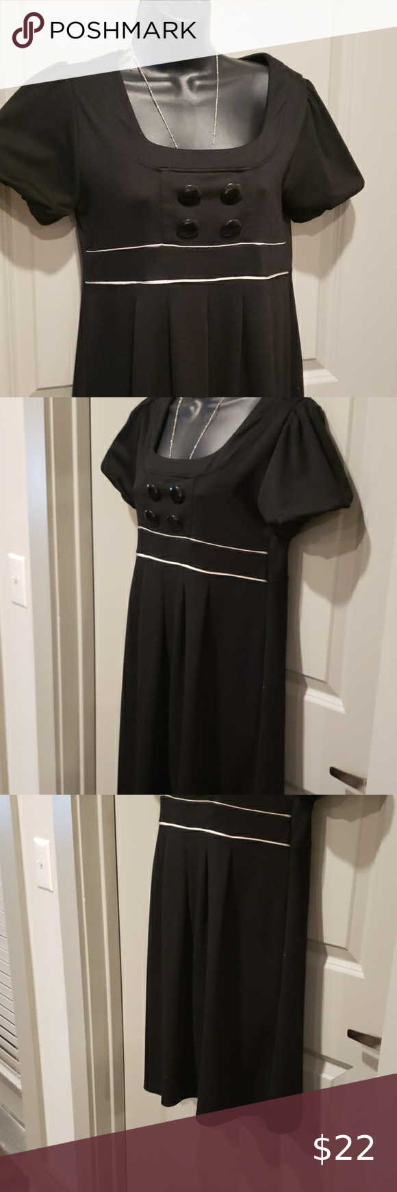 Black Dress 4 Big Front Buttons White Trim Under Bustline Puffy Short Sleeves 33 Top To Bottom Says L But Fits M Also L A B Black Dress Clothes Design Dresses [ 1740 x 580 Pixel ]