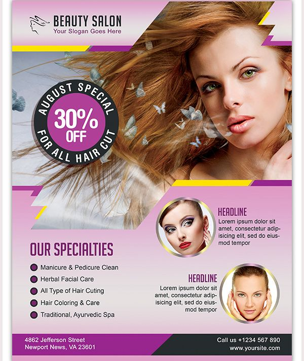 Professional Beauty Salon Flyer Template (600×712) Images