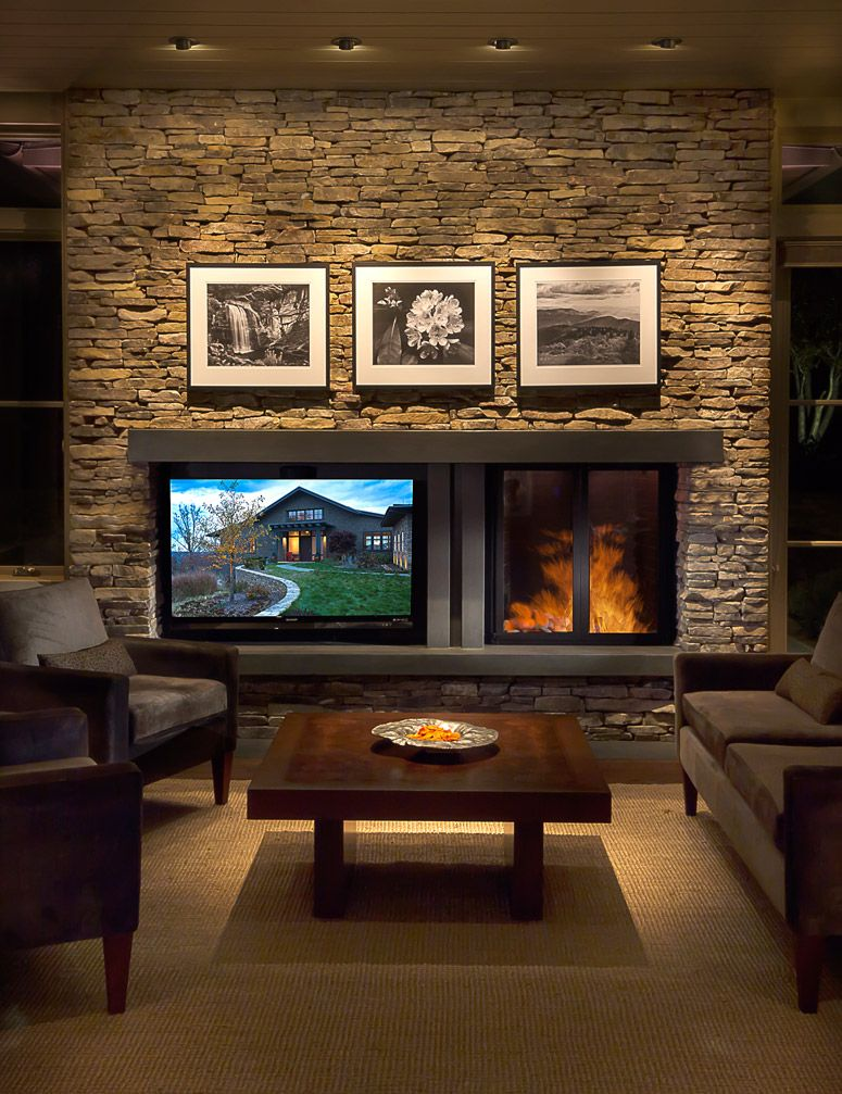 Creating Balance Between A Fireplace And Television Cabin