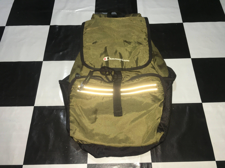 Vintage Champion backpack spell out logo reflective rucksack bag Good condition by AlivevintageShop on Etsy