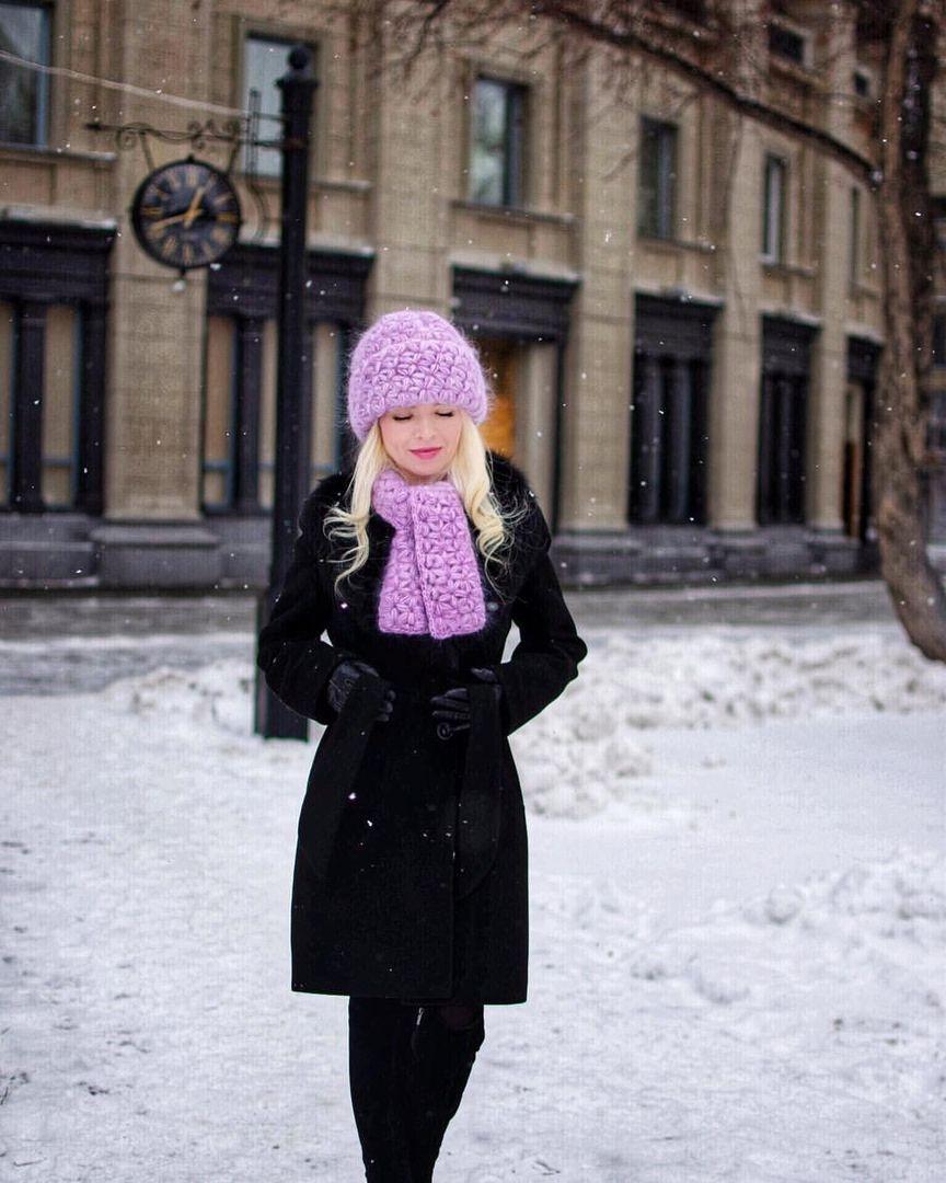 Мохеровая шапка IrinaSha, Вязаная шапка крючком, красивая