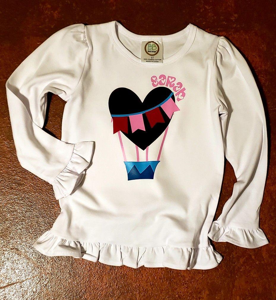 Little girls valentine inspired hot air balloon shirt