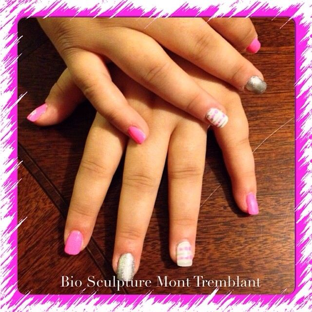 Paris pink gel2 with silver & white